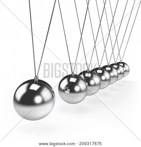 Balancing balls Newton's cradle pendulum concept. 3D rendering.