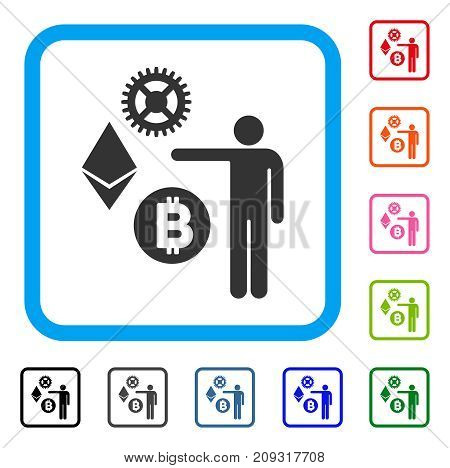 Person Show Cryptocurrency icon. Flat gray iconic symbol inside a light blue rounded rectangular frame. Black, gray, green, blue, red, orange color versions of Person Show Cryptocurrency vector.