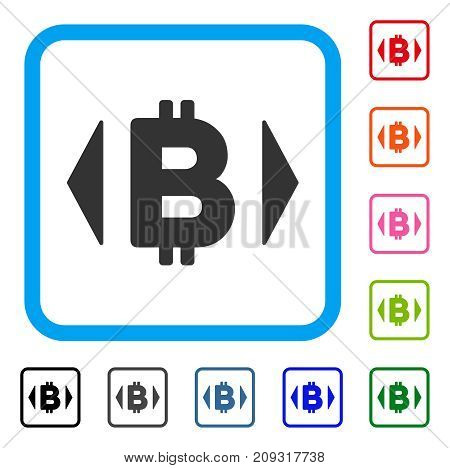 Regulate Bitcoin Price icon. Flat grey pictogram symbol in a light blue rounded rectangular frame. Black, gray, green, blue, red, orange color variants of Regulate Bitcoin Price vector.