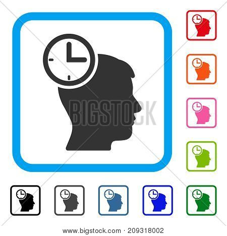 Time Management Head icon. Flat grey pictogram symbol in a light blue rounded square. Black, gray, green, blue, red, orange color variants of Time Management Head vector.