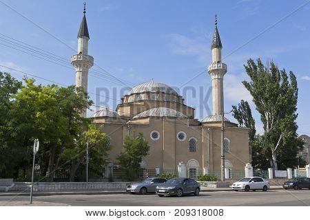 Evpatoria, Crimea, Russia - July 19, 2017: View of the Juma-Jami Mosque in Evpatoria, Crimea