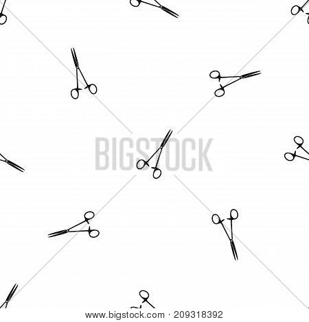 Medical clamp scissors pattern repeat seamless in black color for any design. Vector geometric illustration