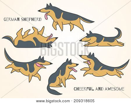 funny cute cartoon german shepherd dogs in various poses. Isolated vector illustration