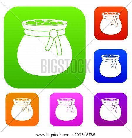 Bag full of gold coins set icon color in flat style isolated on white. Collection sings vector illustration