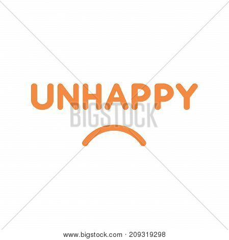 Flat Design Style Vector Concept Of Unhappy Text With Sulking Mouth On White