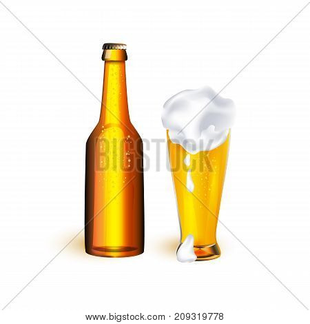 vector realistic full mug and bottle of golden lager cool beer with thick white foam mockup closeup. Ready for your design product packaging. Isolated illustration on a white background.