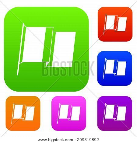 Flag of Ireland set icon color in flat style isolated on white. Collection sings vector illustration