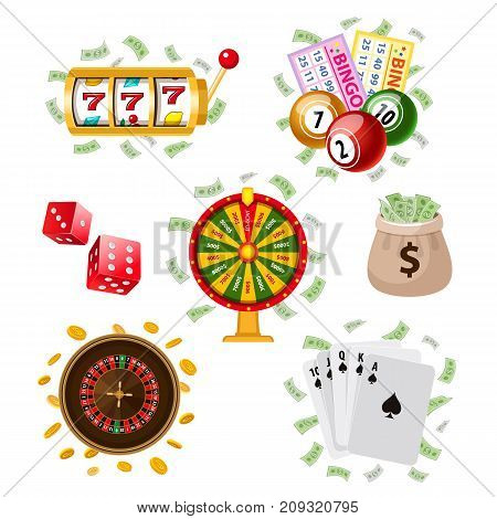Casino, gambling symbols - bingo, playing cards, fortune wheel, roulette, dices, money bag, coins, vector illustration isolated on white background. Big set of flat style casino, gambling symbols