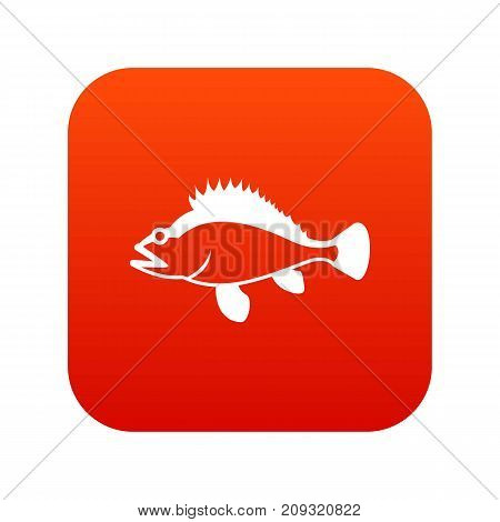 Rose fish, Sebastes norvegicus icon digital red for any design isolated on white vector illustration