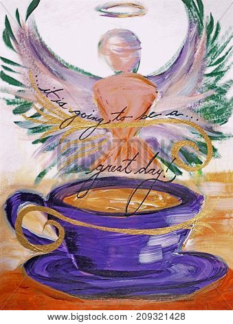Acrylic painting on canvas of purple coffee cup and angel silhouette saying,