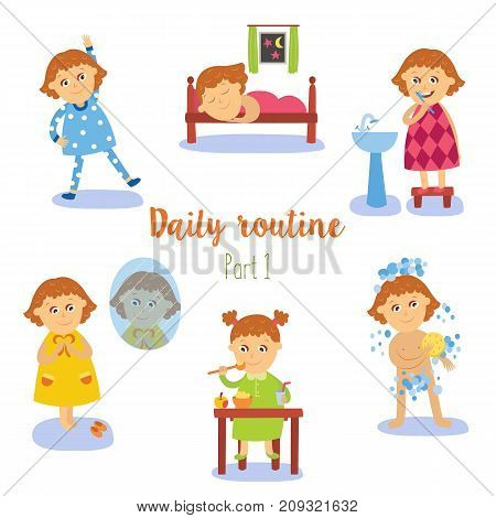 vector flat girl kid doing everyday routine activity set. Child washing, brushing teeth, making physical exercises, eating sleeping and dressing . Isolated illustration on a white background.