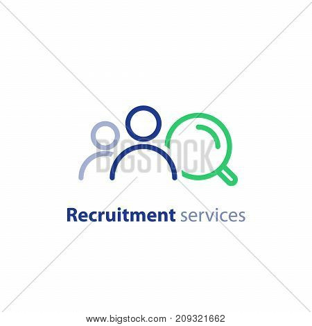 Human resources agency services, recruitment research, hiring employee concept, find job, fill vacancy, vector line icon
