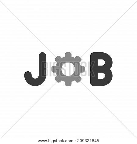 Flat Design Style Vector Concept Of Job Text With Gear Icon On White