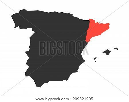 Catalonia region in a vector map of Spain.