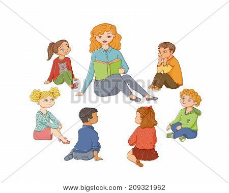 vector flat children - boys and girls sitting around young woman with book - teacher and listening to her attentively with interest. Isolated illustration on a white background. Kindergarten concept