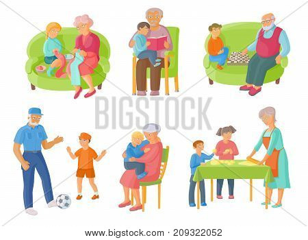 Grandparents spending time with grandchildren - cooking, reading, playing chess and football, cartoon vector illustration on white background. Grandparents and grandchildren spending time together poster
