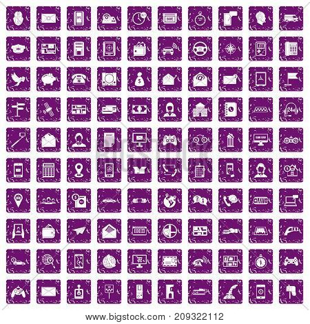 100 telephone icons set in grunge style purple color isolated on white background vector illustration