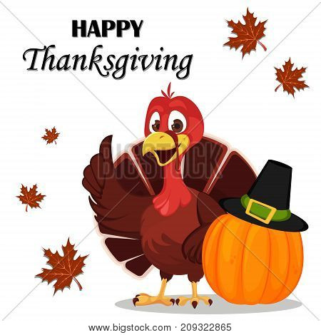 Thanksgiving greeting card with a turkey bird standing near pumpkin in a Pilgrim hat. Funny cartoon character for holiday. Vector illustration on white background.