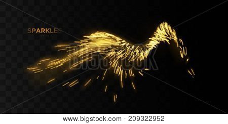Glowing wave of golden motion sparkles isolated on black background. Shiny streaming particles. Light effect for design. Comet trail. Party flyer decoration element. Glittering splash wave shape