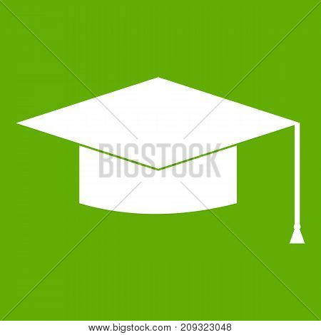 Graduation cap icon white isolated on green background. Vector illustration