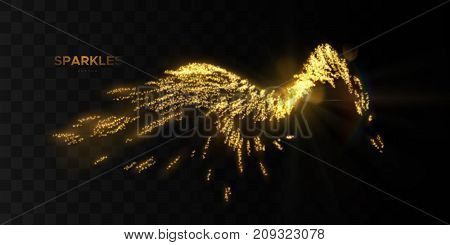 Glowing wave of golden motion sparkles isolated on black background. Shiny streaming particles. Light effect for design. Glittering splash wave shape