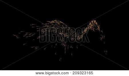 Splashing golden particles isolated on black. Liquid or airy turbulent motion stream. Vector abstract shape. Spraying glitters. Element for design