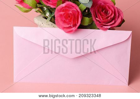 Pink envelope and red roses,wedding card,Valentine day