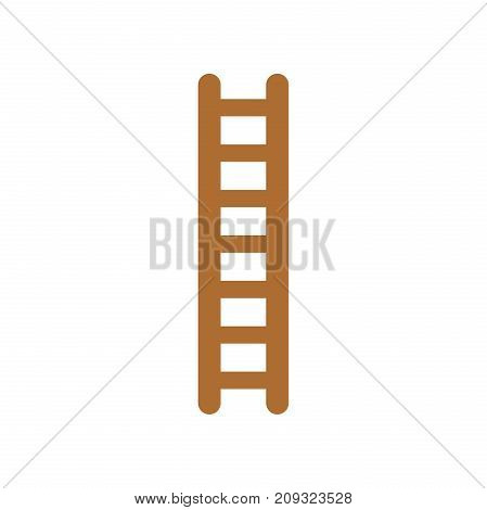 Flat design style vector illustration of brown wooden ladder symbol icon on white background.