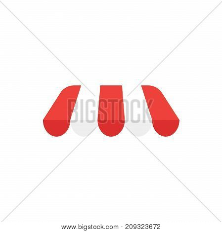 Flat design style vector illustration of red and white awning symbol icon without shop or store building on white background.