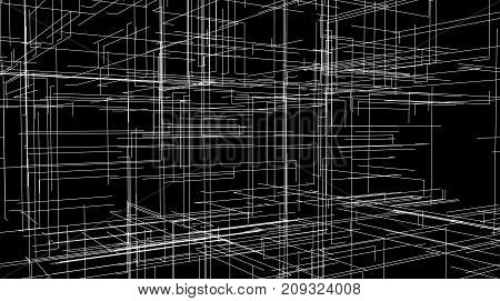 Abstract 3d architectural background with lines and levels. Building structure scheme. Vector technology illustration. HUD element for design. Perspective view. Cyber space hierarchy