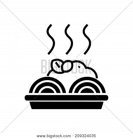 porridge with meatballs icon, illustration, vector sign on isolated background