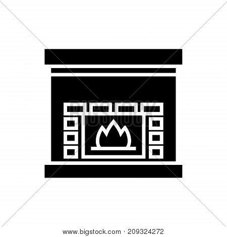 fireplace - hearth icon, illustration, vector sign on isolated background