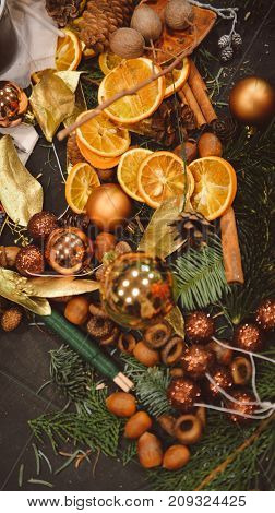 Manufacturer of Christmas decor with their own hands. Christmas wreath for the holiday. The new year celebration. Master class on making decorative ornaments