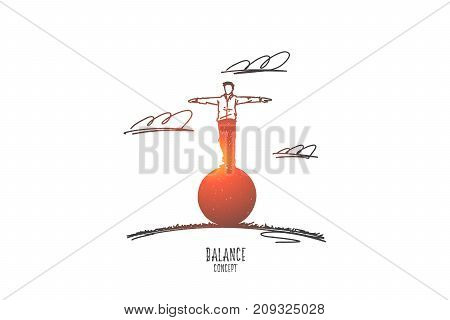 Balance concept. Hand drawn man balances standing on a ball. Balanced person isolated vector illustration.