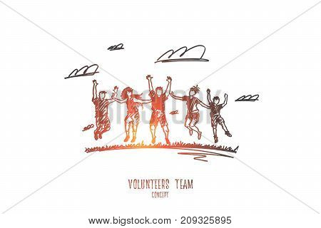 Volunteers concept. Hand drawn group of people volunteers. Happy people doing charity together isolated vector illustration.