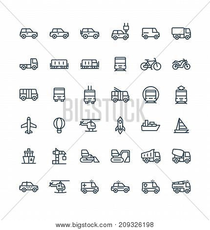 Vector thin line icons set and graphic design elements. Illustration with public transport, cars outline symbols. Electric auto, minivan, truck, train, bicycle, bus, metro, airplane linear pictogram