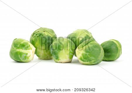 Fresh brussel sprouts isolated on white background, vegetable for cooking