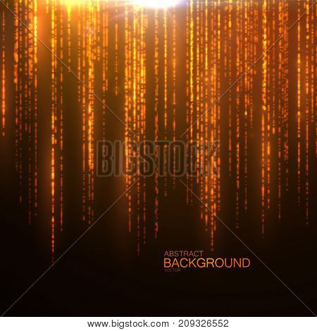 Sparkling falling rain of glitters. Golden glittering background. Abstract texture with shimmering particles. Glowing confetti background. Vector illustration. Shiny stars