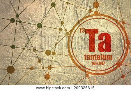 Tantalum chemical element. Sign with atomic number and atomic weight. Chemical element of periodic table. Molecule And Communication Background. Connected lines with dots. Distress grunge texture