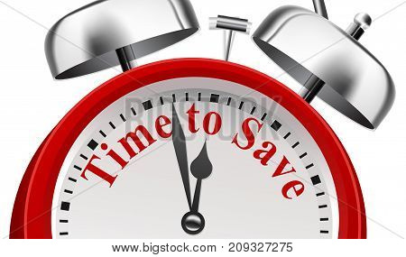 Time to Save Announcement Concept on white background