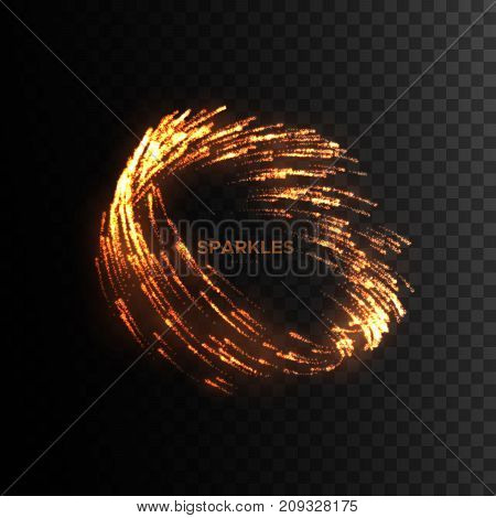 Glowing fire sparks vortex isolated on black. Shiny volcanic particles. Combustion light effect for design. Hell fire sparkles whirlpool shape. Fire show or party flyer template. Vector illustration