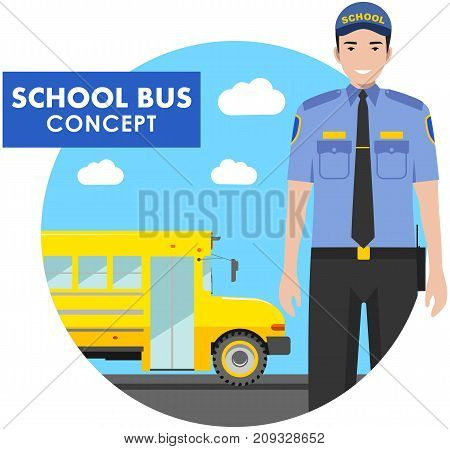 Detailed illustration of driver in uniform on background with classic yellow school bus in flat style.