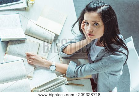 Girl Studying With Books