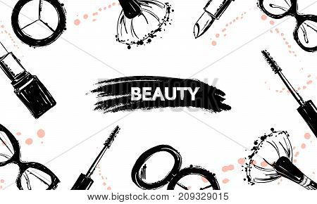 Beauty background with Hand drawn make up artist cosmetics objects: makeup brush lipstick mascara Eyeshadow sunglasses. Cosmetics creative background. With a place for your text. Template Vector.