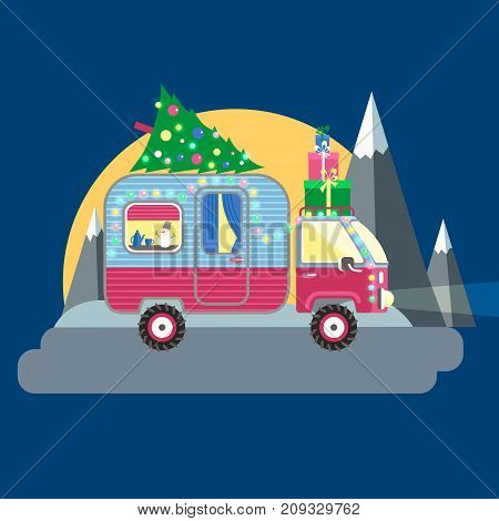 Vector illustration. House on wheels. Christmas car trailer with tree and gifts, holiday decorations, garland. Moon and mountains in the back. Flat style.