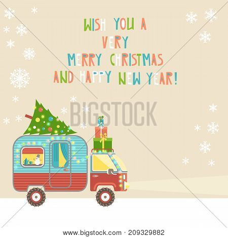 Vector background, merry christmas and happy new year text. House on wheels. Christmas car trailer with tree and gifts, holiday decorations, garland. Flat style.
