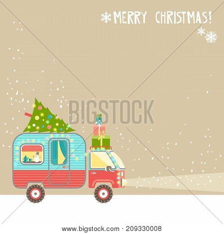 Vector background, merry christmas  text. House on wheels. Christmas car trailer with tree and gifts, holiday decorations, garland. Flat style.