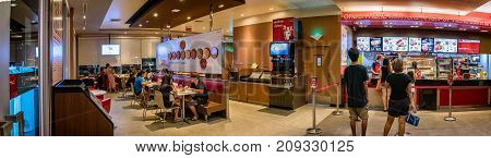 BANGKOK THAILAND - OCTOBER 15: Local KFC fast food restaurant serves operates and serves customers in Bangkok on October 15 2017.