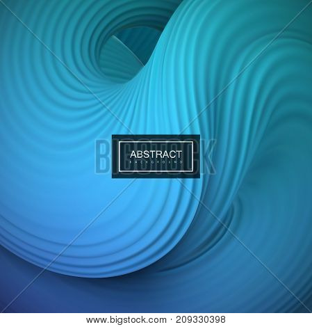Abstract 3d twisted background. Textured squeezed bubble. Liquid blue color. Vector creative illustration. Modern concept for branding. Cover, poster, banner design element