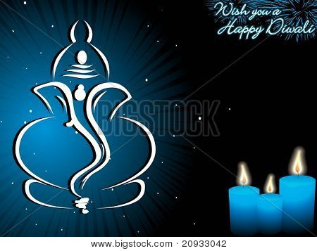 blue background with candles, ganpati